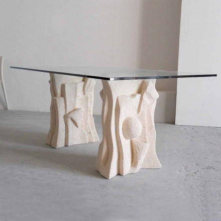 Classic design dining table Priamo, Vicenza natural stone and crystal