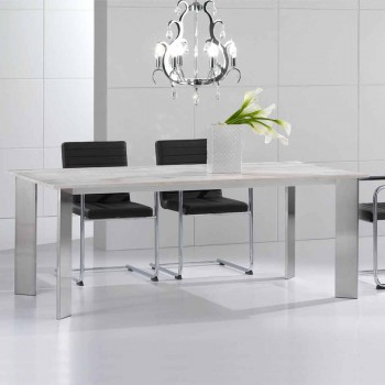 Travertine stone table with legs in polished steel Pompilio