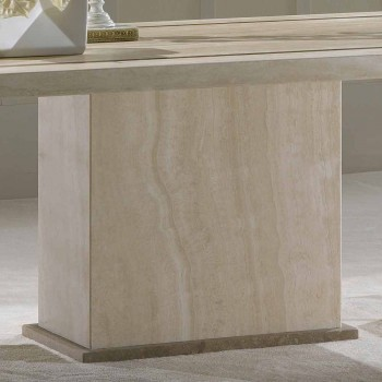 Table in travertine stone, inlay and rectangular Livio base