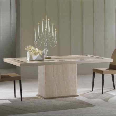 Dining table made of Travertine stone, classic design, Livio