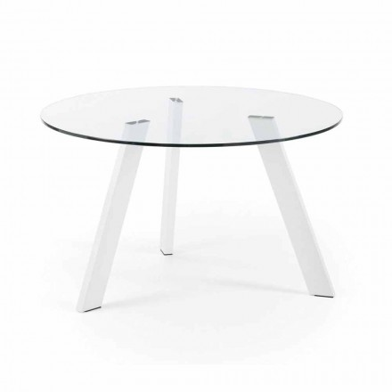Steel and glass dining table Agata Ø130 cm, pure white legs