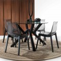 Round dining table Burgos, with glass table top and grey legs