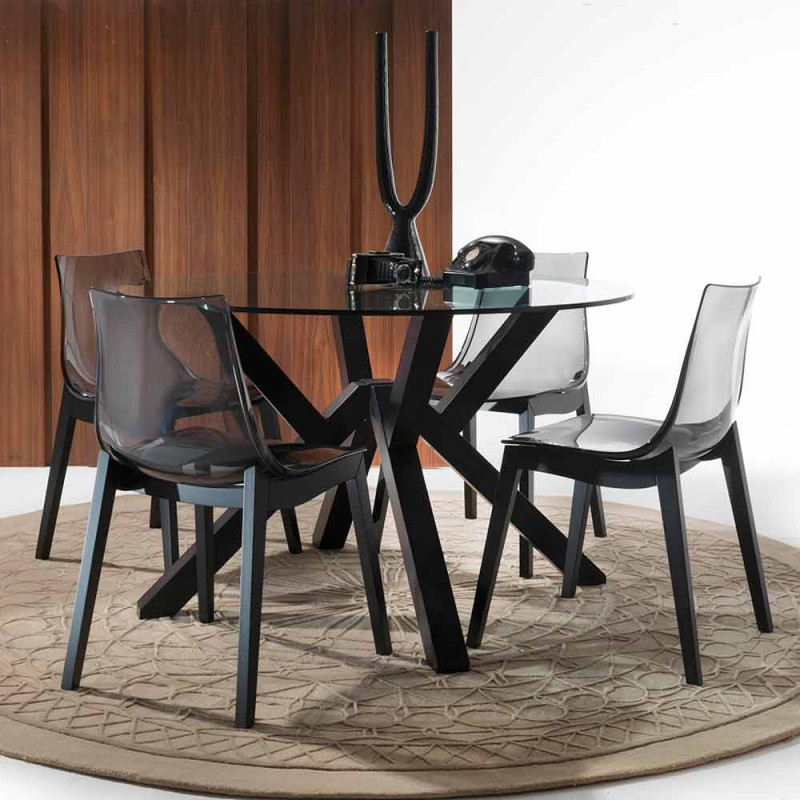 Burgos round table in glass and graphite solid beech
