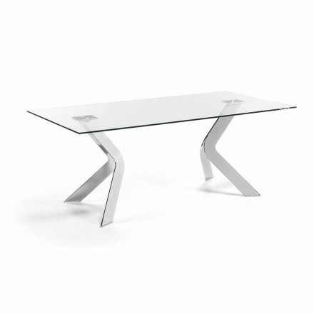 Rectangular glass dining table Moka 200x100 cm , chrome legs