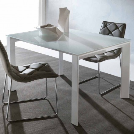 Extending dining table Phoenix, made of tempered glass