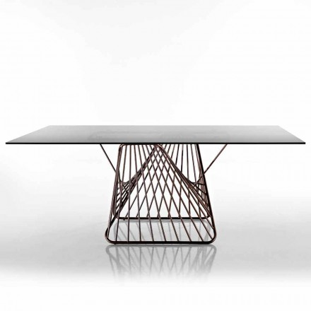 Modern design table in tempered glass made in Italy, Mitia