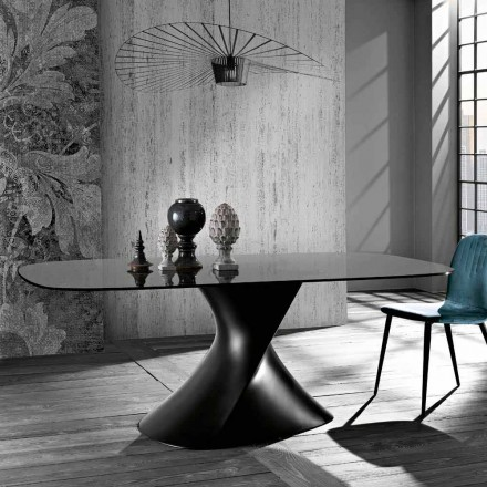 Modern design table in tempered glass made in Italy, Clark