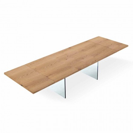Extendable Modern Table up to 300 cm in Laminated and Glass Made in Italy – Strappo