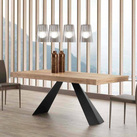 Modern table extendable up to 260/280 cm in wood and metal Teramo