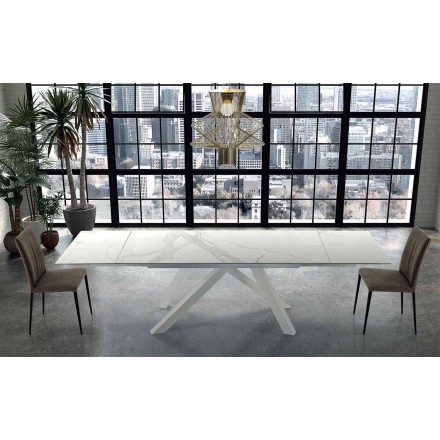 Modern Extendable Table up to 300 cm in Marble Made in Italy – Settimmio