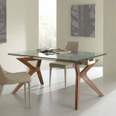 Extending dining table Kentucky, tempered glass and stainless steel