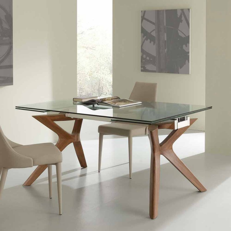 Extending dining table Kentucky, tempered glass and ...