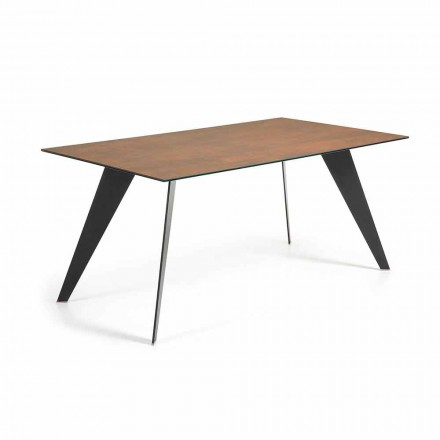 Contemporary dining table Paride, with ceramic top, 180x100cm