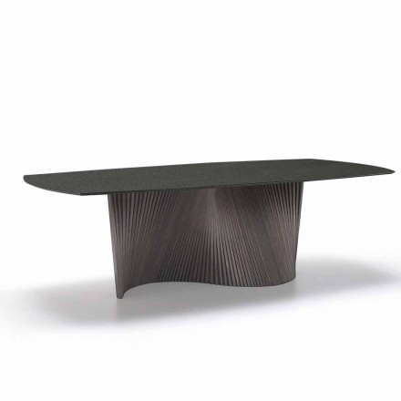 Modern table with marble effect stoneware top made in Italy, Adrano