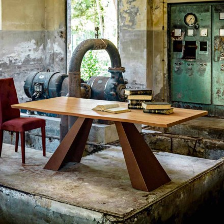 Modern dining table with wooden top and metal legs 100x200 cm Flora