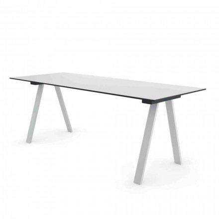 Modern Outdoor Design Table in Metal and HPL Made in Italy - Denzil