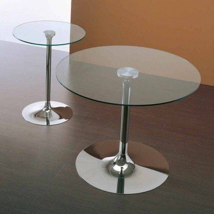 Modern table Vigo, with transparent tempered glass table top