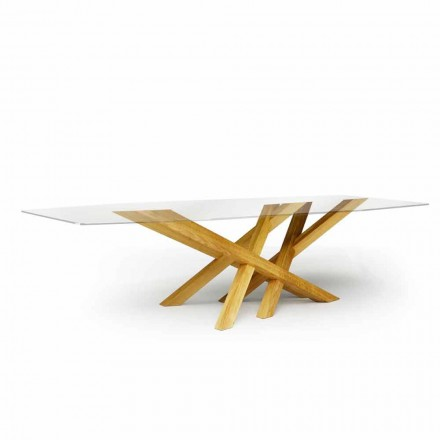 Modern table in glass and natural oak produced in Italy Acciano