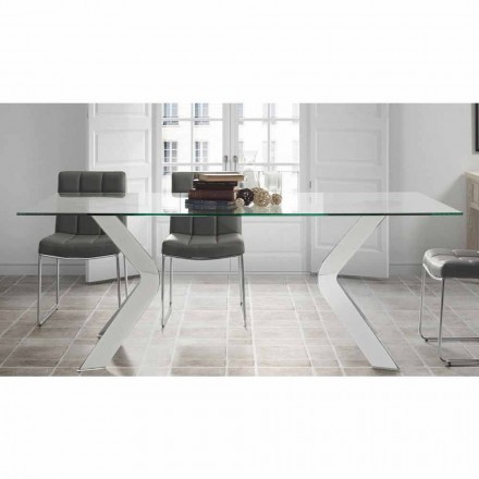 Designer glass dining table Moka, chrome legs