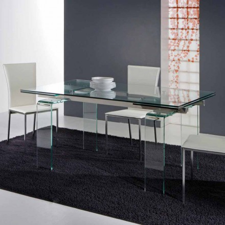 Extending dining table Atlanta, entirely made of tempered glass