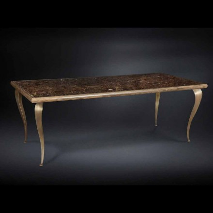 Rectangular table Adam, solid wood and marble, Neoclassical design