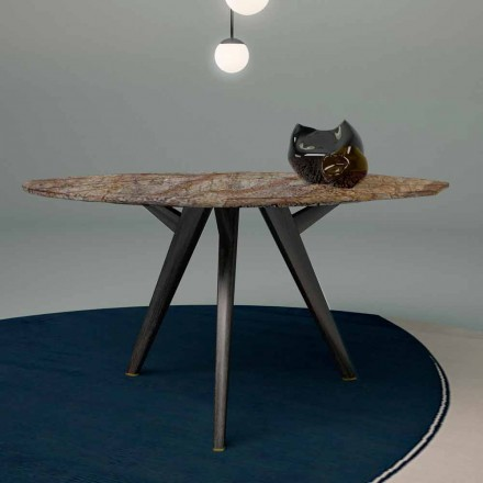 Octagonal Table in Forest Brown Marble and Solid Wood Made in Italy - Akiko