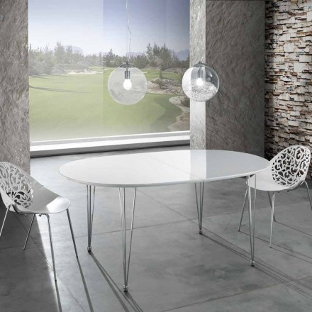 Oval extendable dining table with stainless steel legs Teo
