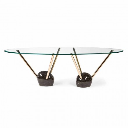 Oval dining table Zoe with glass top, made in Italy, modern design