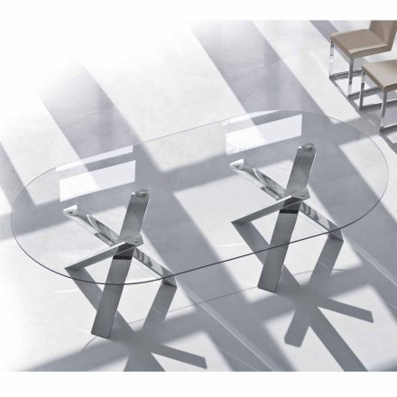 Design oval table in crystal 220x120cm made in Italy, Tree