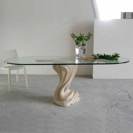 Design dining table made of crystal and Vicenza natural stone Agave