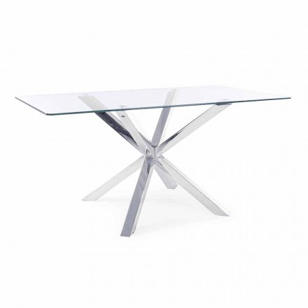 Homemotion Dining Room Table with Tempered Glass Top - Denda