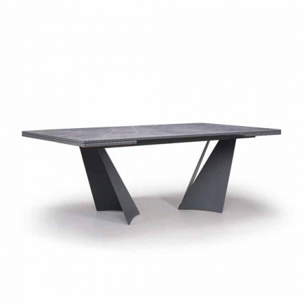 Extendable Dining Table Up to 294 cm in Gres and Metal Made in Italy - Nuzzio