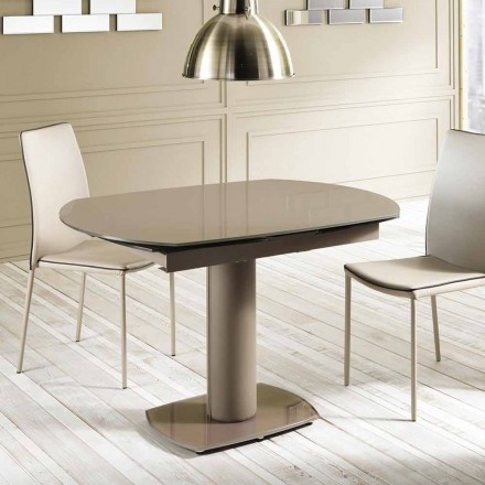 Extendable dining table made of glass and faux leather, L120/180xP90 cm - Lelia