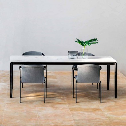 Garden Dining Table in Aluminum and Hpl or Gres, Various Finishes - Filomena