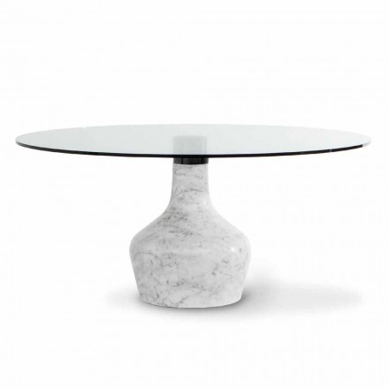 Round Dining Table in Glass, Marble and Metal Made in Italy - Bonaldo Curling