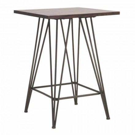 Industrial High Square Table in Iron and Wood - Helle