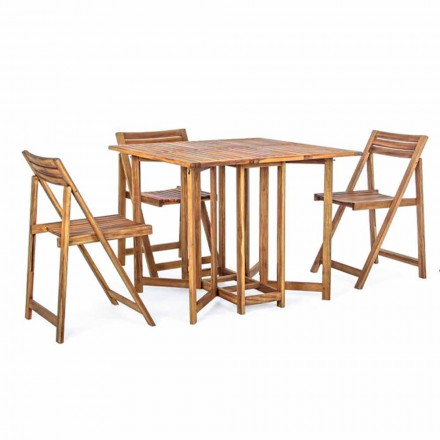 Square Outdoor Table in Acacia Wood with 4 Folding Chairs - Sage