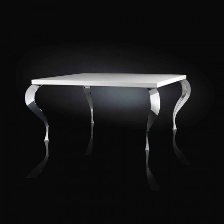 Square table Luigi, MDF and chrome-plated steel, modern design