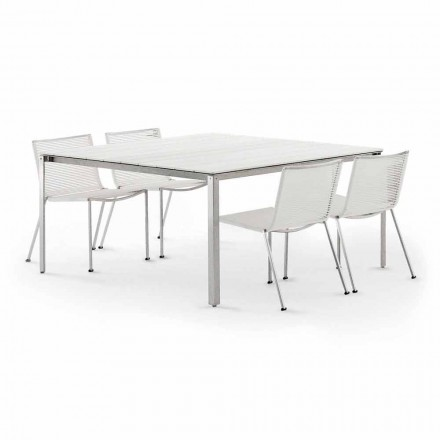 Square Outdoor Table in Steel with Slats Made in Italy Design - Mariuli1