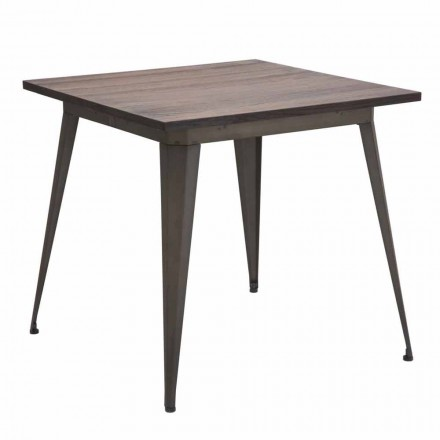 Industrial and Industrial Style Square Table in Iron and Wood - Gerard