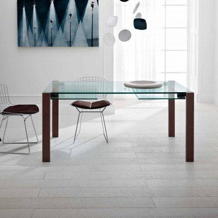 Extendable Table Up to 280 cm in Transparent Glass Made in Italy - Sopot