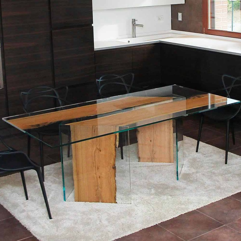Rectangular table in Venice briccola wood and San Marco glass