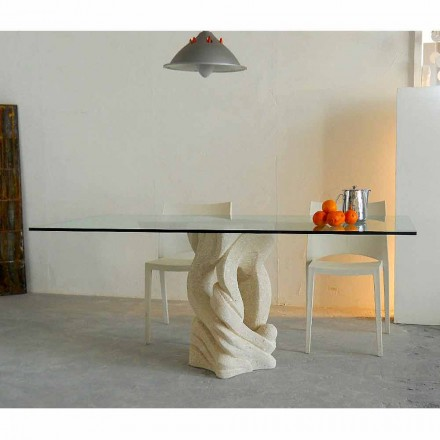 Dining table with Vicenza natural stone base Ascanio,made in Italy