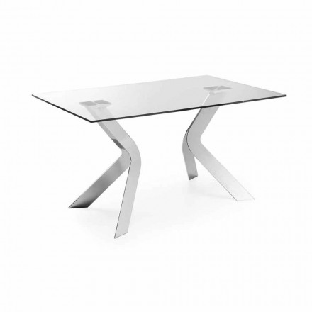 Rectangular glass dining table Moka 150x90, chrome legs