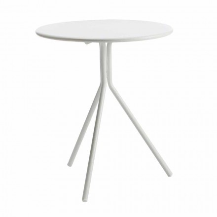 Round Outdoor Table in Modern Painted Metal Made in Italy - Gobi