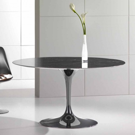 Round Dining Table in High Quality Marquinia Marble Made in Italy - Nerone