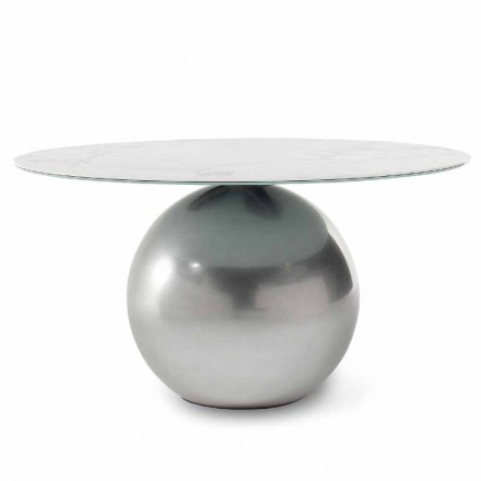 Round Ceramic Table with Metal Base Made in Italy - Bonaldo Circus