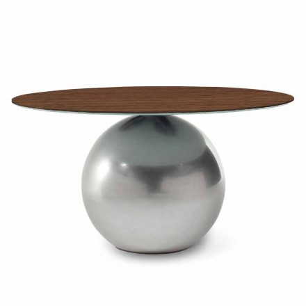 Round Design Table with Wooden Top Made in Italy - Bonaldo Circus