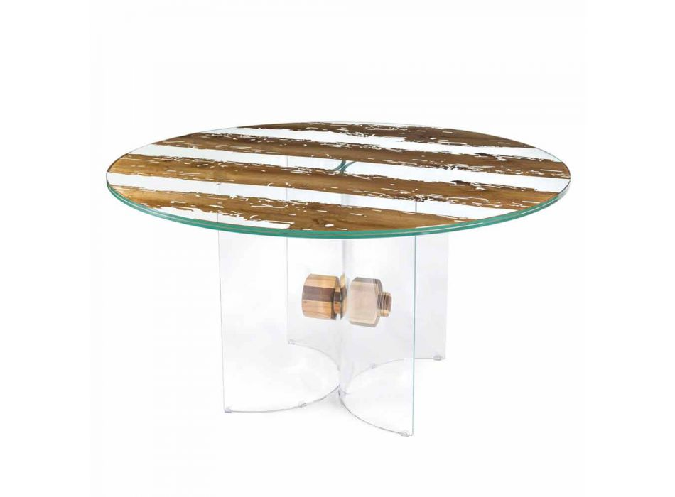 Round design table of Venetian glass and wooden dolphin