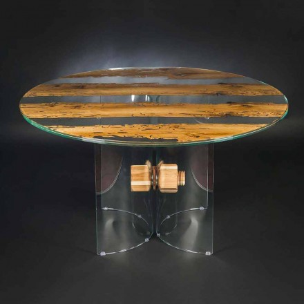 Round table Venezia, made of Venice briccola wood and glass